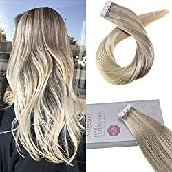 "Moresoo 18"" Tape in Remy Hair Extensions Blonde Skin Weft Human Hair Color #18 Fading to #22 and #60 Blonde Seamless Skin Weft Hair Extensions 20PC/50G"