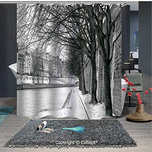 SCOXIXI Bathroom Decoration Cozy Lovely Shower Curtain,Seine River Paris France Snowy Winter in Urban City Trees,for Master,Kid's,Guest Bathroom,Standard(70.86