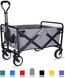 "WHITSUNDAY Collapsible Folding Garden Outdoor Park Utility Wagon Picnic Camping Cart with Replaceable Cover (Compact Size 5"" Wheels, Grey)"