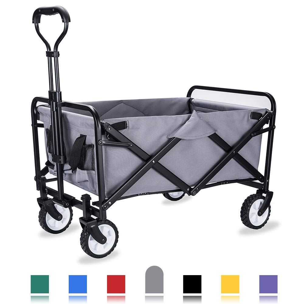 WHITSUNDAY Collapsible Folding Garden Outdoor Park Utility Wagon Picnic Camping Cart with Replaceable Cover (Compact Size 5'' Wheels, Grey)