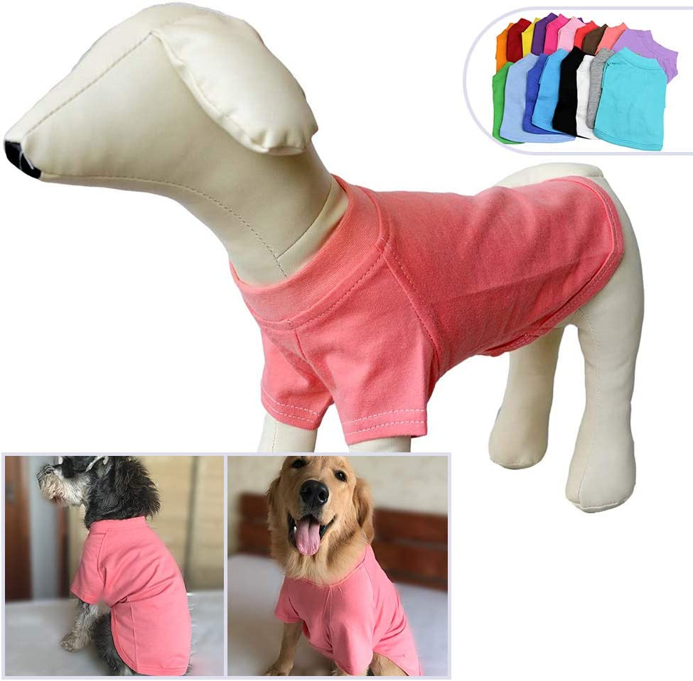 Lovelonglong 2019 Pet Clothing Dog Costumes Dachshund Clothes Blank T-Shirt Tee Shirts for Dachshund Dogs,Corgi 100/% Cotton Lotuspink D-S