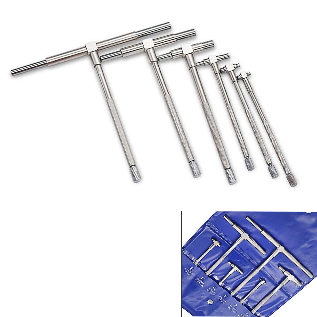 ZXHAO Cr Stainless Steel 5/16'' - 6'' Range Precision Telescoping T-Bore Hole Gauges Set with Pouch 1set