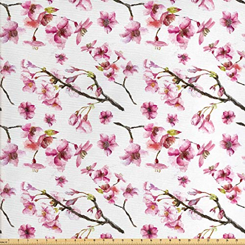 Ambesonne Cherry Blossom Fabric by The Yard, Artistic Watercolor Style Oriental Pattern with Sakura Branch, Decorative Fabric for Upholstery and Home Accents, 1 Yard, Hot Pink Green Brown