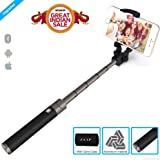 ZAAP® (USA) NUSTAR5 Aluminium Premium(3rd Generation) Bluetooth Selfie Stick with In-built Remote Shutter | Universal Compatible For iPhone, Andriod & other Smartphones (Black)