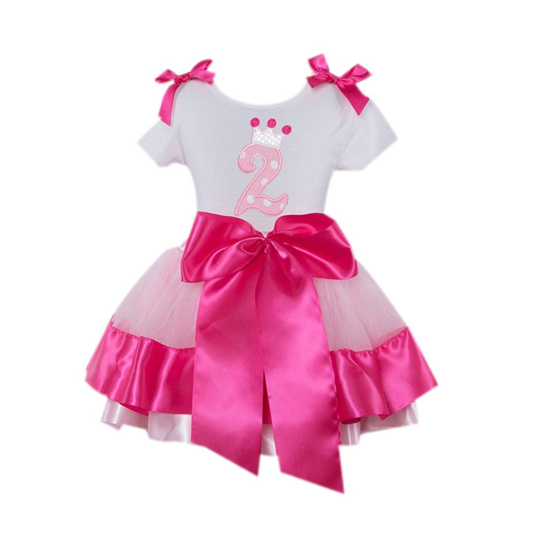 Baby Girls' 2nd White Birthday T-Shirt Pink Rose Satin Skirt For 24M