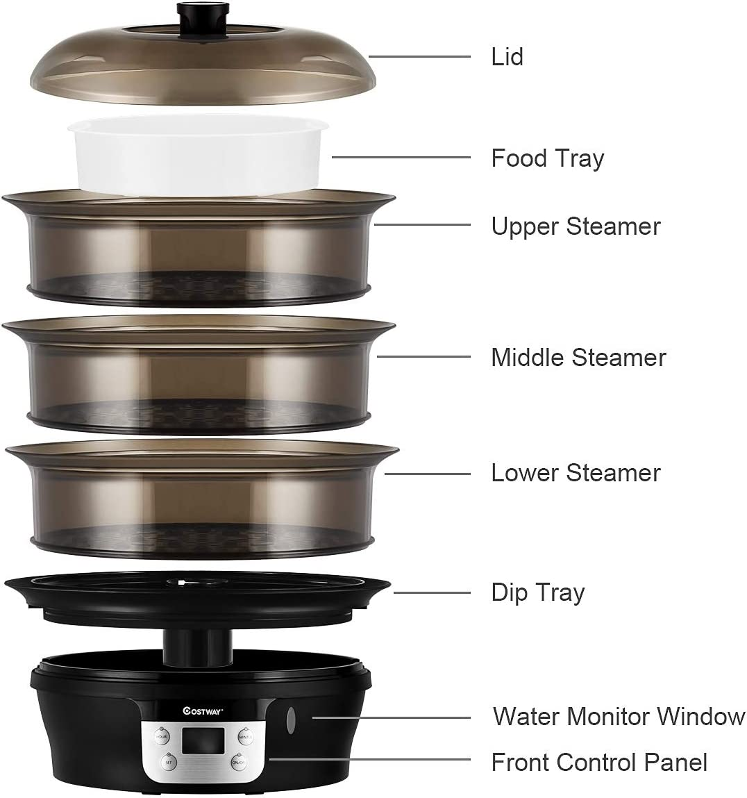 COSTWAY best rated electric food steamer / Vegetable Steamer