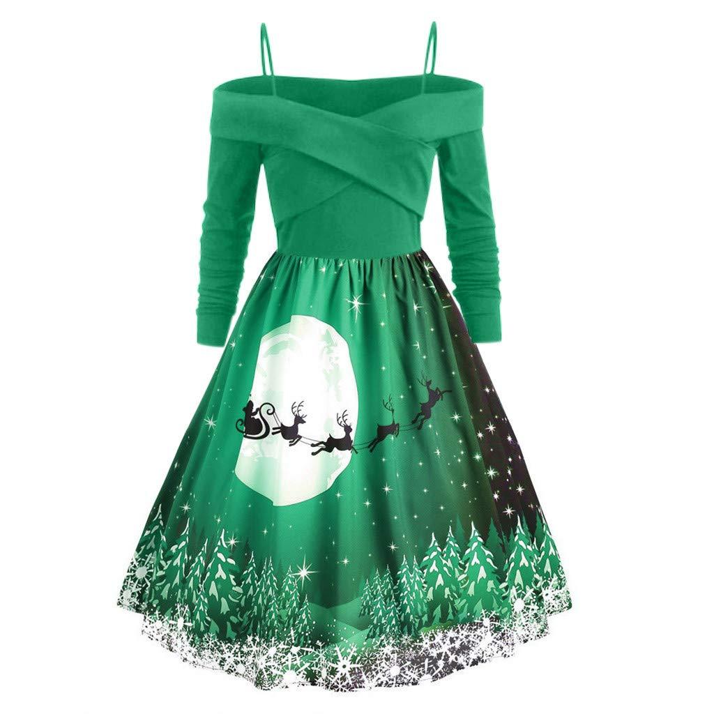 Succper Christmas Dress Womens Vintage Halter Dress A Line 1950s Xmas Santa Cocktail Swing Tea Dance Party Dress Costume