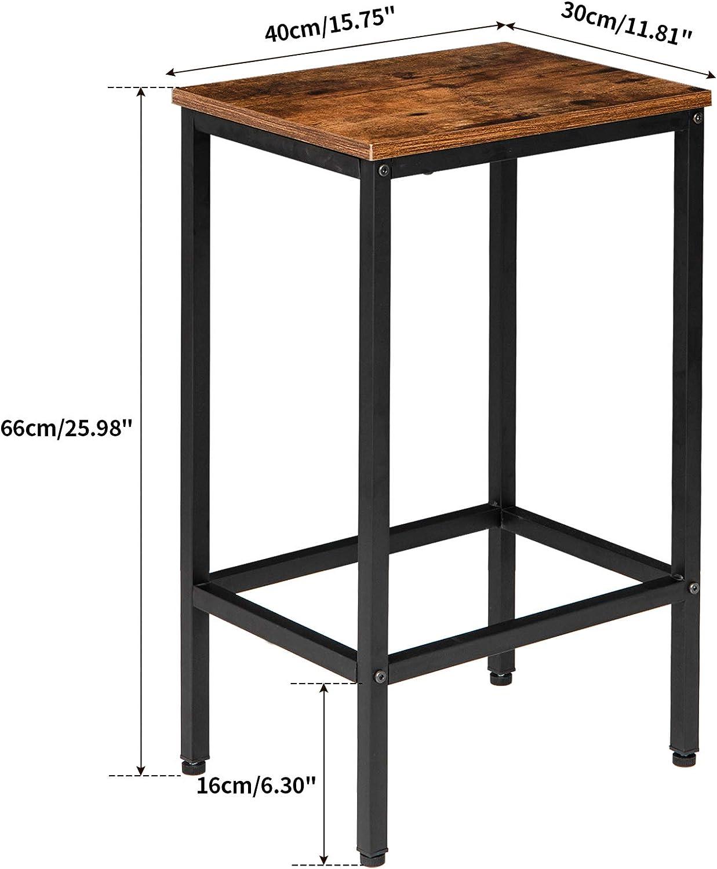 IBUYKE Sgabelli da Bar in Stile Industriale Sgabello da Pranzo con Poggiapiedi Set di 2 Sedie da Bar per Cucina Soggiorno Stanza da Festa Marrone Vintage TMJ051H
