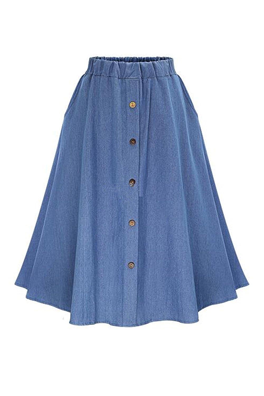 Women's Loose Elastic Waist Denim Jeans Buttons Circle Skirt CATNPYYY12-Blue-F