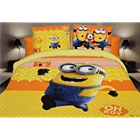 Blenzza deco® Glace Cotton Cartoon Print Comforter Set for Single Bed (1 Single bedsheet,1 Pillow Cover,1 Comforter)-Minions