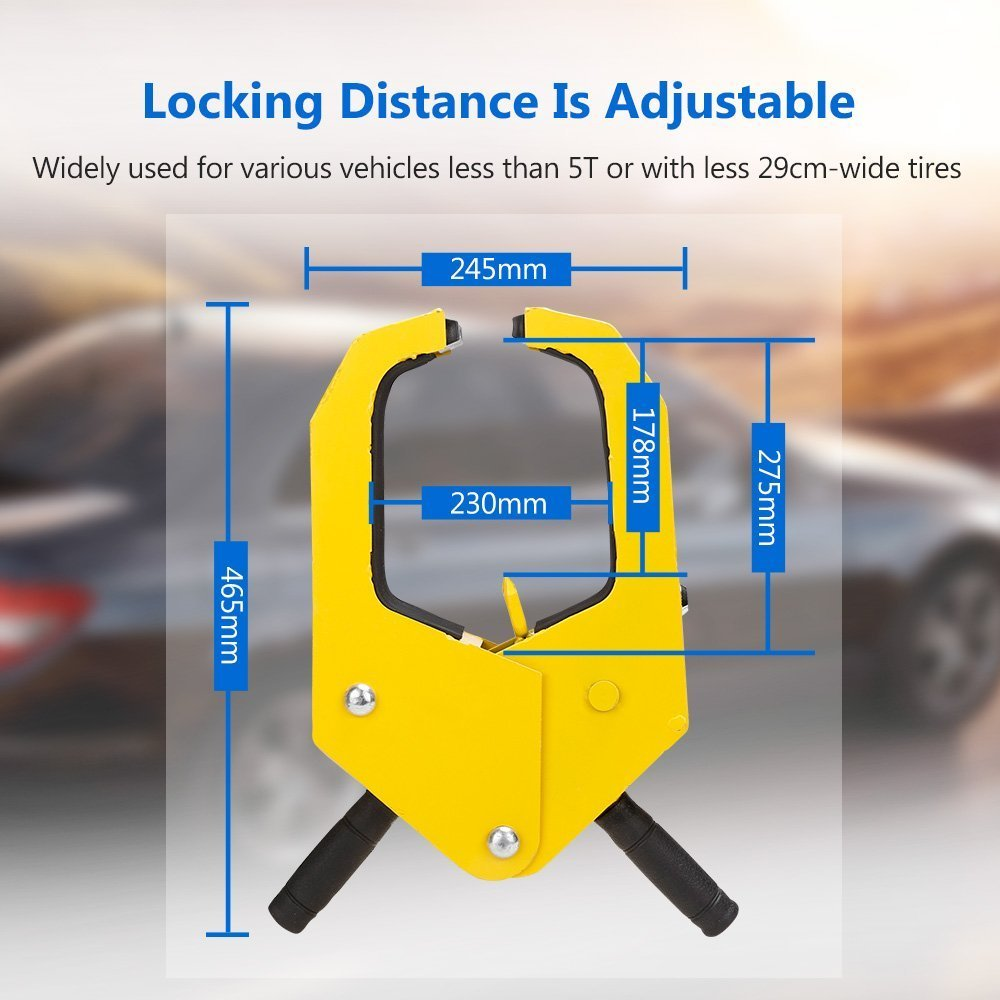 Wheel Clamp Car Trailer Wheel Clamp 300mm Wheel Lock Trailer Lock Anti Theft Tire Lock caravan Car Lock Auto Boot Tire Claw Parking Truck RV Boat LARGE-Yellow BY FBA