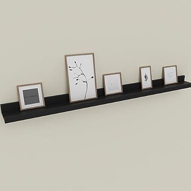 Wall Mounted Floating Shelf Display Ledge Shelf for Picture Frames Book (Wall Mounted Floating Shelf_Black_48in)