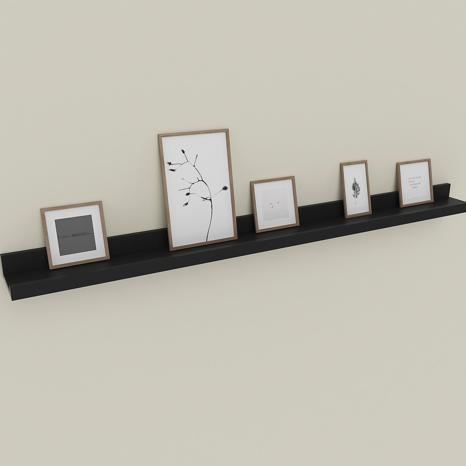 Floating Picture Ledge Display Wall Mount Shelf for Picture Frames Book Display (Black, 47inch)