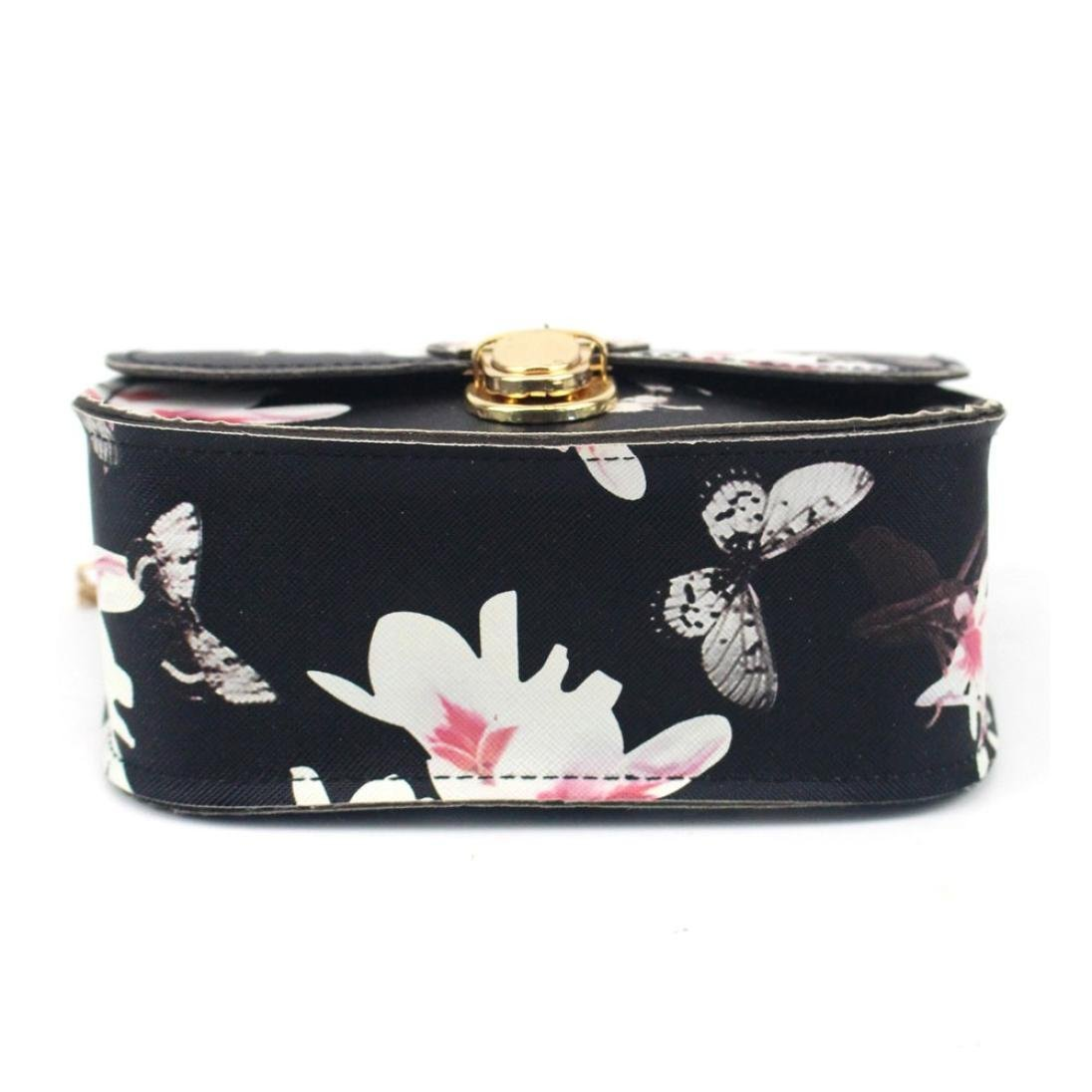 Outsta Butterfly Flower Printing Handbag,Women Shoulder Bag Tote Messenger Bag Phone Bag Coin Bag Travel Backpack Bucket Bag Classic Basic Casual Daypack Travel (Black) by Outsta (Image #4)