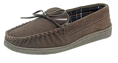 c9ac7151474 MENS GENTS REAL SUEDE MOCCASIN SLIPPERS SIZE UK 6 - 12  Amazon.co.uk ...