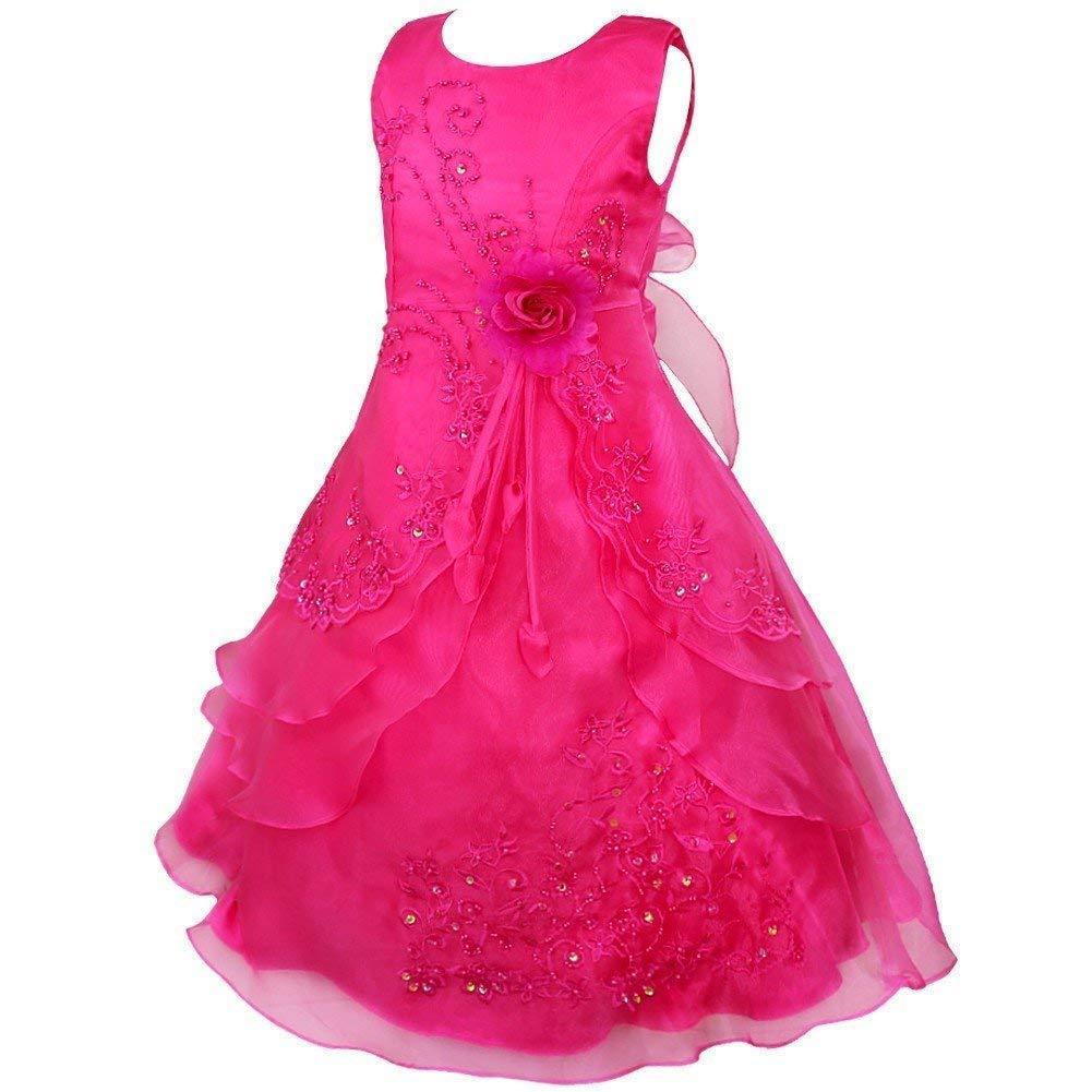 Rose 7-8 ans MJY Mode Enfants Filles 'Robe De Fleur Sans Manches Brodé De Mariage De Demoiselle D'honneur Couches-robes Robes Formelles Robe De Bal De Bal,Bleu marin,7-8 ans