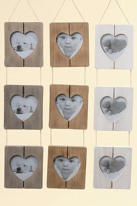 Marco de fotos, marco de fotos con corazón Recorte de madera para 3 ...