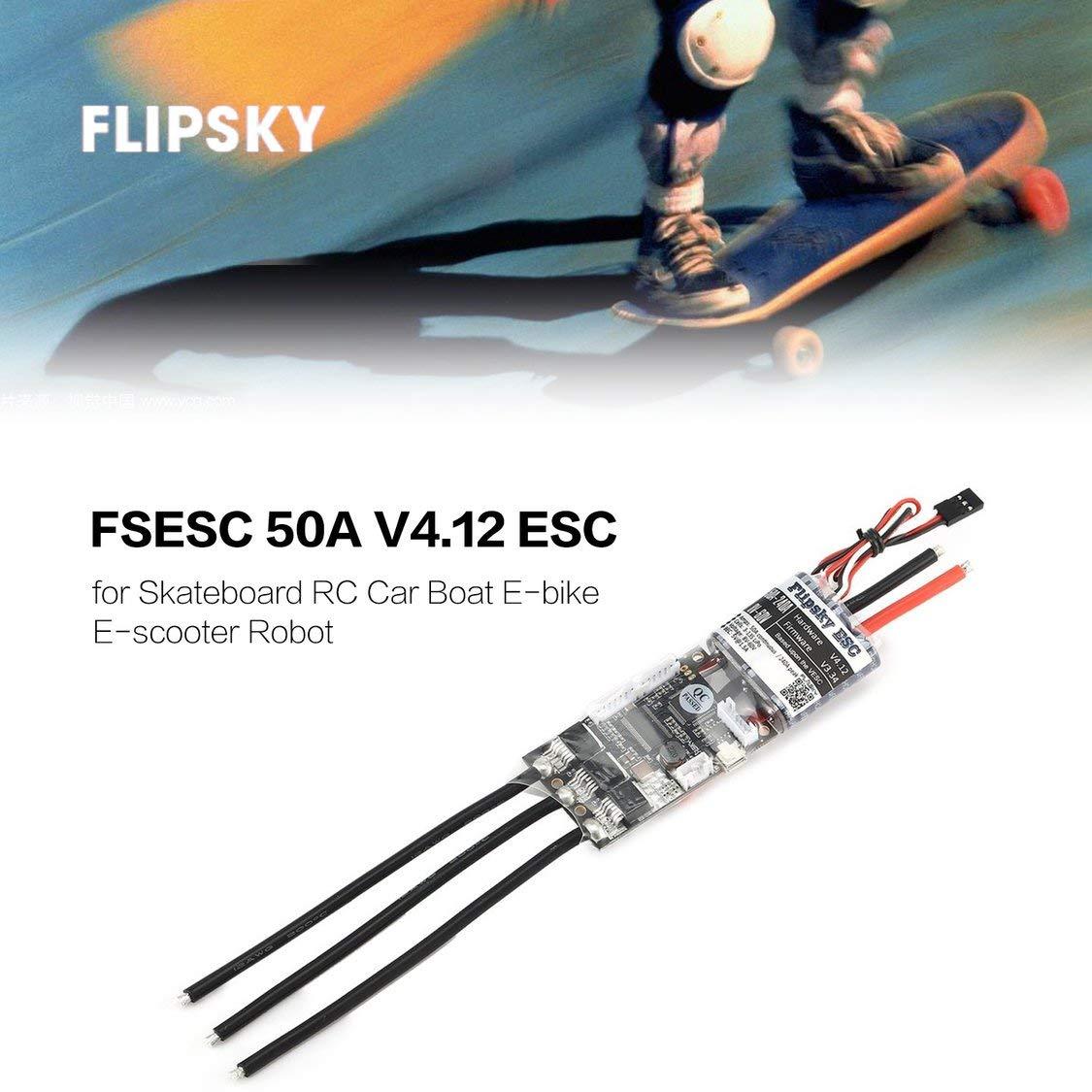 Fancysweety HGLRC FLIPSKY FSESC 50A V4.12 ESC Electronic Speed Control for Electric Skateboard RC Car Boat E-bike E-scooter Robot
