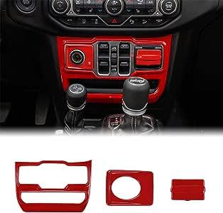 JeCar Interior Decoration Trim Kit, Cigarette Lighter/USB Port& Window Control Panel Trim Cover for 2018 2019 2020 Jeep Wrangler JL JLU, Red