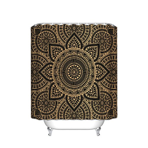 Mandala Ombre Sacred Geometry Occult Pattern with Flower Lines Display Artwork shower curtain Sacred Geometry Mandala