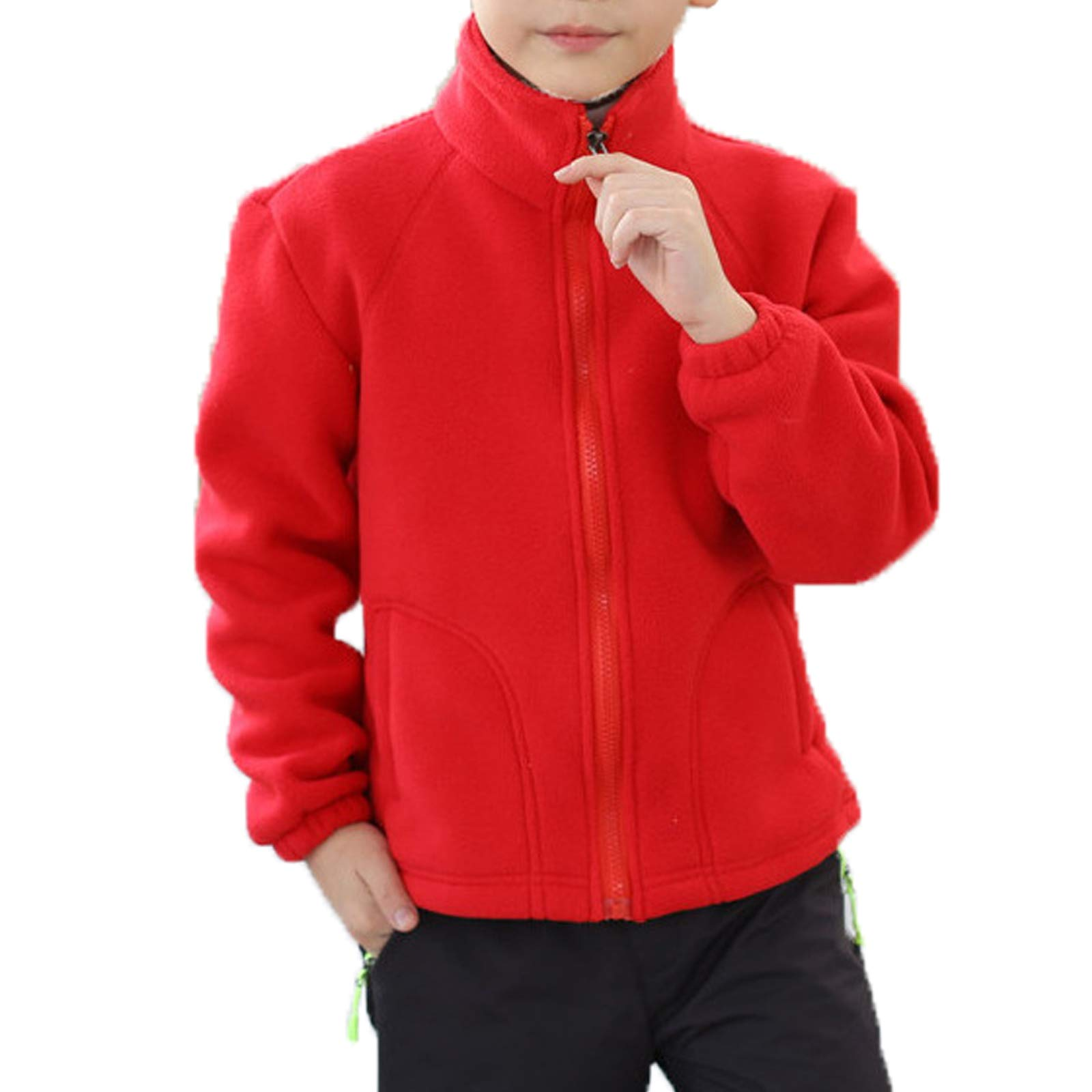 Elonglin Kids Fleece Jacket Full Zip Stand Collar Boys Sportwear Top Outwear Red3 Bust 33.4''(Asie XXS) by Elonglin
