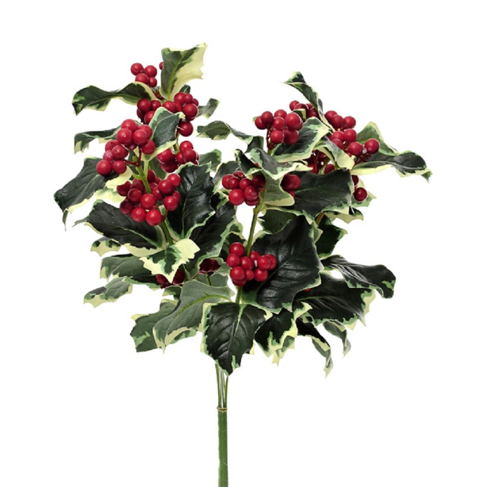 Artificial Holly Berry Spray Green Variegated Leaves Red Berries Sprig Bush Christmas Arrangement 30cm