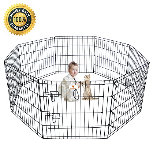 Pet Playpen Dog Fence Wire Exercise Pen Foldable Yard Heavy Duty for Cats Rabbits Indoor and Outdoor - 24 Inches Black Outdoor Exercise Pet Pen