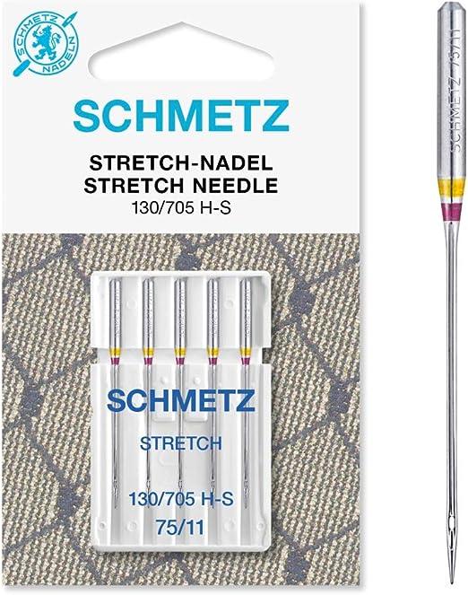 Schmetz Aguja para máquina de coser 5 estiramientos (130/705 HS ...