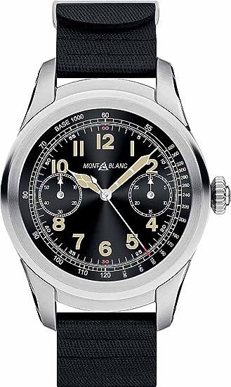 Montblanc Cumbre Smartwatch 117739 caja de acero inoxidable con correa de caucho de color negro: Amazon.es: Relojes