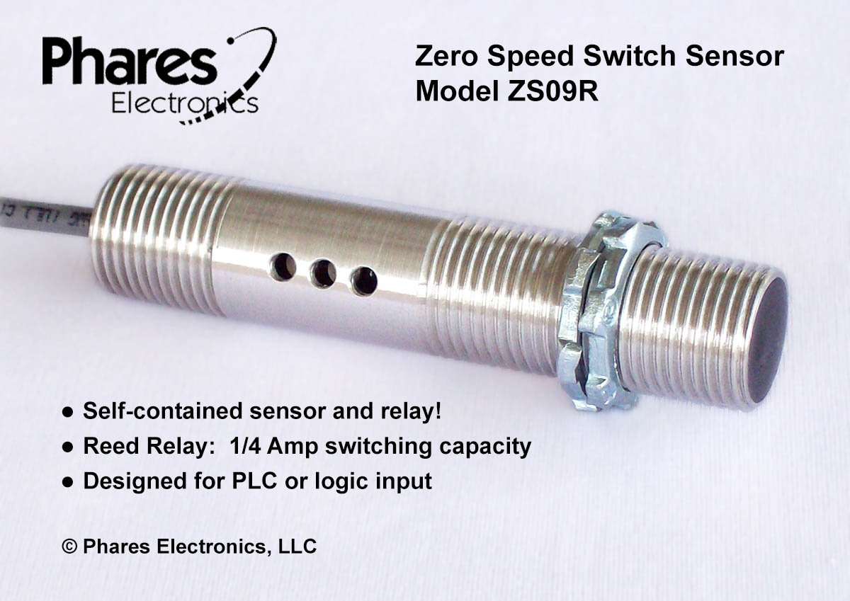 Phares Electronics Zero Speed Switch Sensor, ZS09R3-D, Relay NC, 6-24 VDC, 1/4 Amp switching capacity