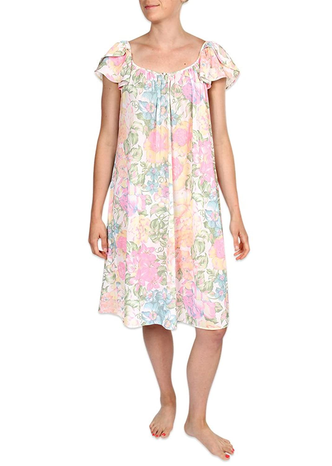 Heavenly Bodies Tricot Nightgown, Short Sleep Dress With Pastel Floral Print Comfortable Lightweight Fabric, Flutter Sleeves