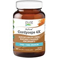MyPure Cordyceps 4X Organic Mushroom Supplement by Pure Essence - 100% Real Mushroom Extract for Immune System Support, Combat Stress, Build Energy - 60 Caps