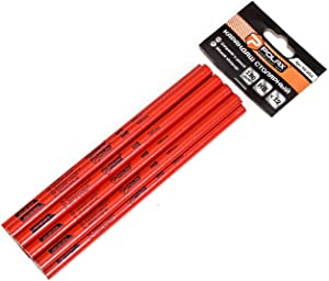 Carpenter pencils POLAX 12 Pack   Oval pencil   Wide Graphite Pencil for Wood Flooring Marker & Concrete Marking   For Measuring Tool Set   Red Color pencil   7.08 IN   HB  