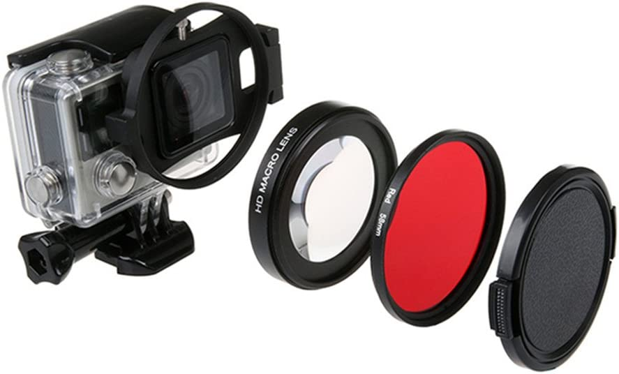 Red Filter for Gopro Hero4 Hero3+ Waterproof Housing Case Flip Adapter Lens Cap 58mm HD Macro Lens Close-Up +16 Filter