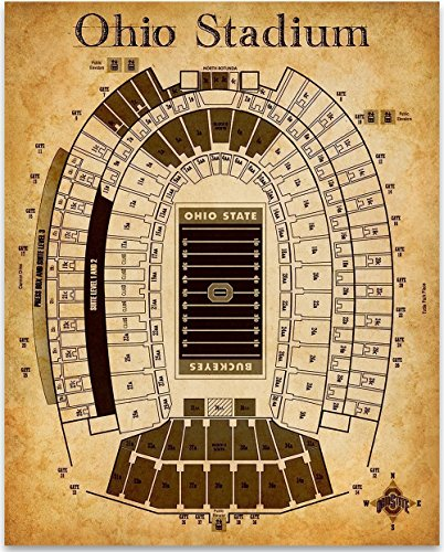 Baseball Jersey Wall Art - Ohio Stadium Football Seating Chart Art Print - 11x14 Unframed Art Print - Great Sports Bar Decor and Gift for Football Fans
