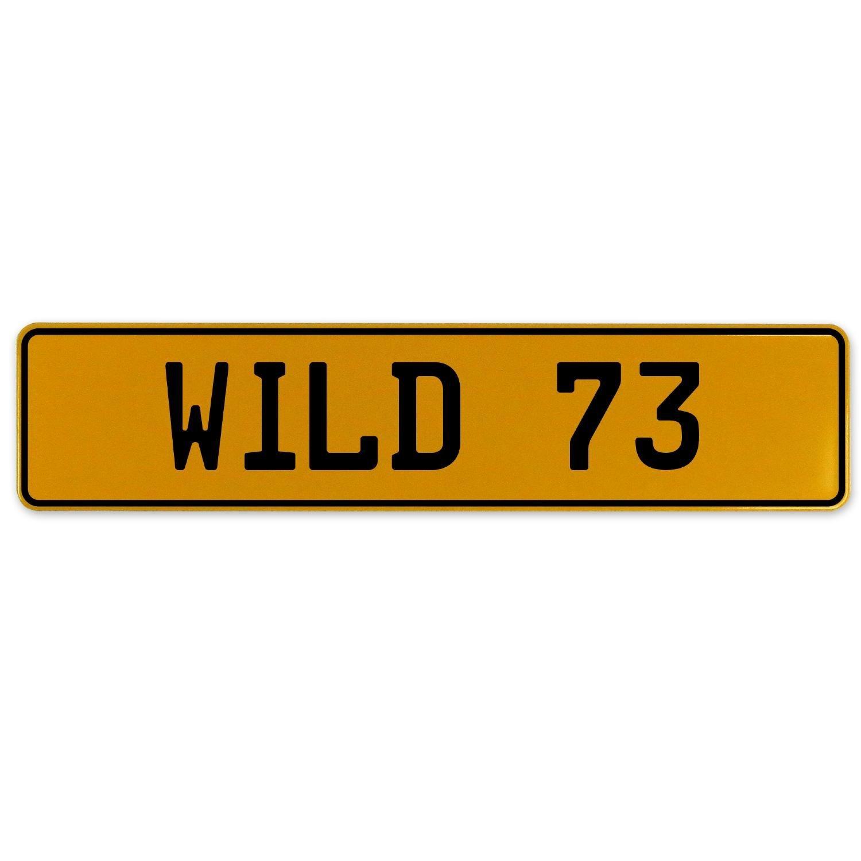 Vintage Parts 560908 Wild 73 Yellow Stamped Aluminum European Plate