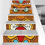 Stair Stickers Wall Stickers,6 PCS Self-adhesive,Tiki Bar Decor,Cartoon Style Angry Looking Tiki Warrior Mask Colorful Icon Totem Culture Decorative,Multicolor,Stair Riser Decal for Living Room, Hall,