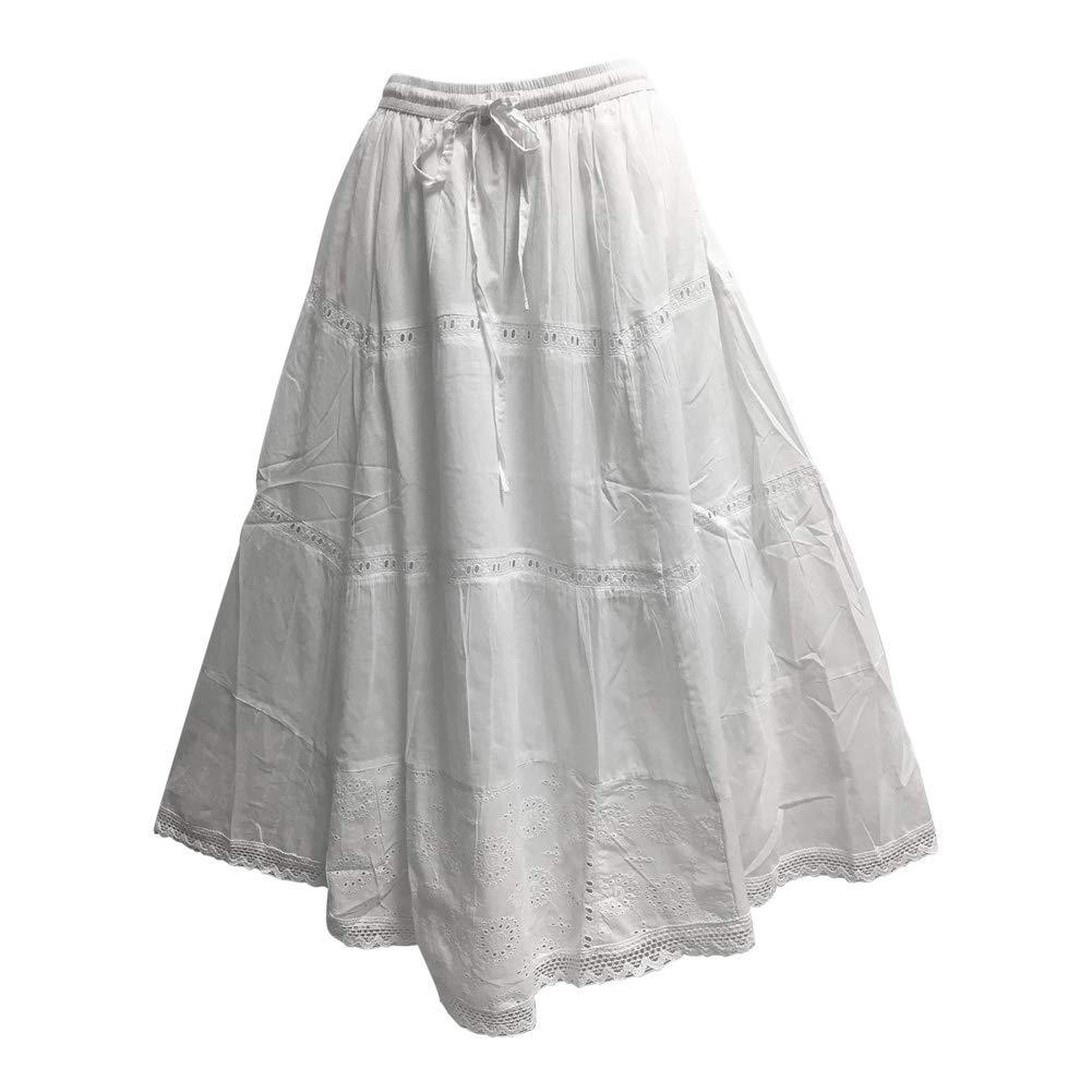 Yoga Trendz White Embroidered Eyelet Tiered Indian Fine Gauze Cotton Long Maxi Skirt (Large, JK6)