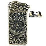 USB Rechargeable Windproof Electric Plasma Arc Cigarette Lighter Oiikury Engraved Lighters Chinese Dragon(Antique brass)