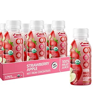 OOGLI Strawberry-Apple Organic Juice, 8 fl oz (Pack of 6), NOT From Concentrate, 100% Natural, USDA Organic, Kosher Certified, Non-GMO, No Additives