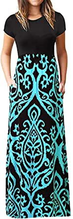 FRSH MNT Ladies Summer Dresses Casual Short Sleeve Loose Maxi Dresses for Women with Pockets