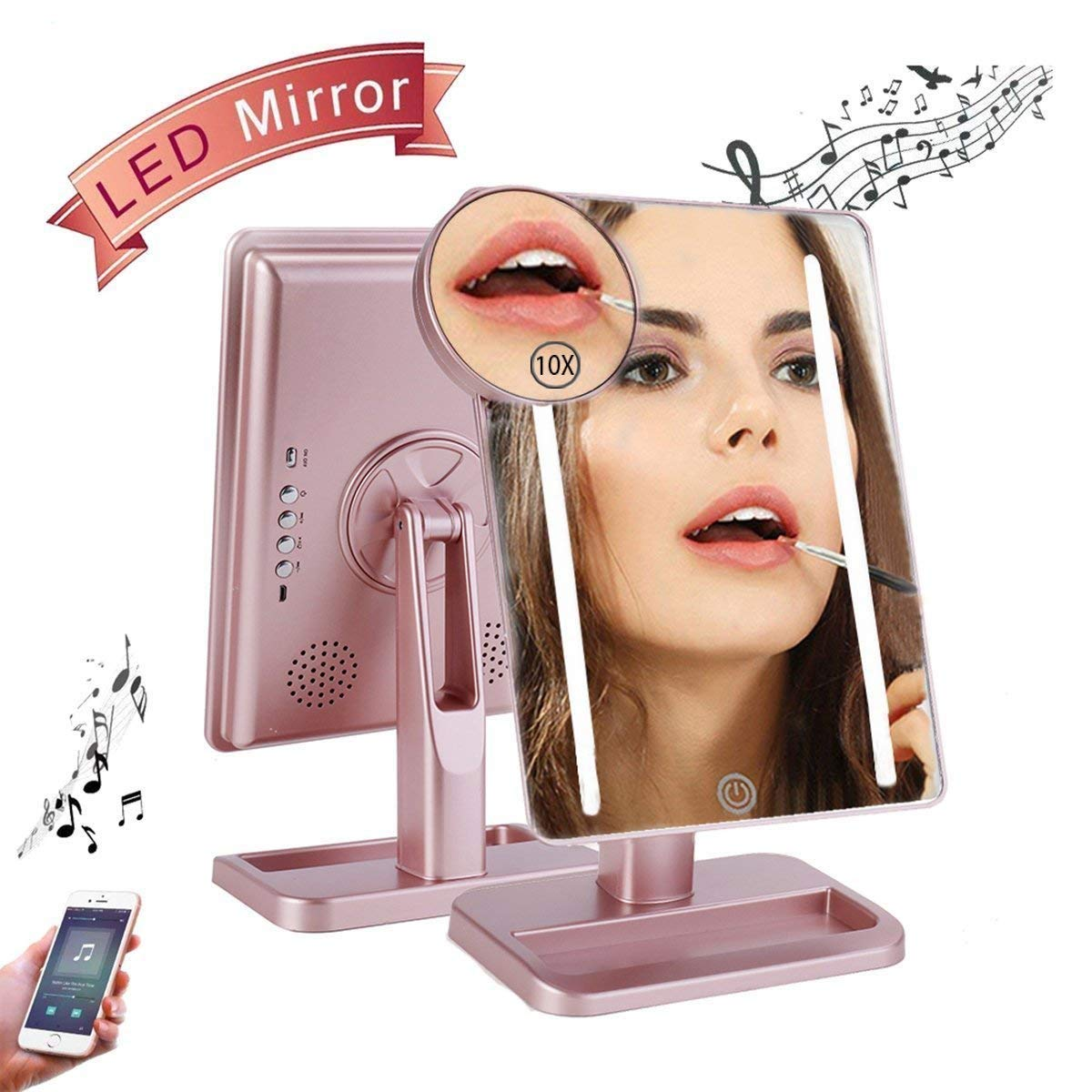 Hansong Makeup Mirror with Lights- Lighted Makeup Mirror,USB Chargeable,Wireless Audio Speakers,Detachable 10X Magnifying Mirror,180° Rotation Countertop Cosmetic Mirror(Rose Gold)