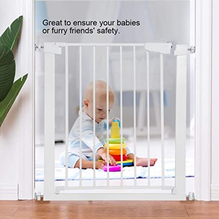 EBTOOLS Puerta Seguridad Bebé/Mascotas con Ancho Ajustable para Puerta, Pasillo o Escalera, Barrera de Seguridad Metálica + ABS para Puertas, No Es Necesario Perforar, Blanco (#1): Amazon.es: Hogar