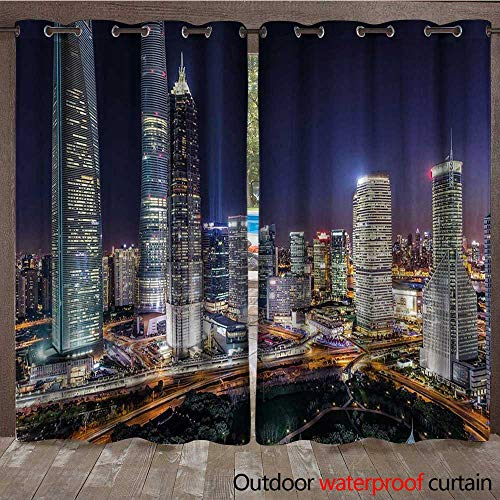 BlountDecor Urban Indoor Outdoor Curtain Skyline Illuminated Skyscrapers in Modern City at Night Architectural Cityscape PhotoW108 x L96 Multicolor ()