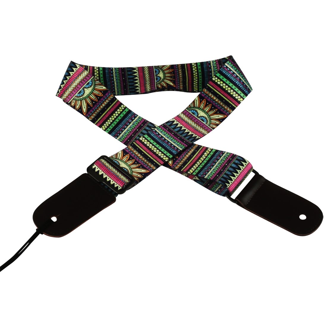 Jacquard Weave Hootenanny Style Electric Guitar Strap Acoustic Strap Bass Strap Ukulele Strap with Tie Leather Ends C11