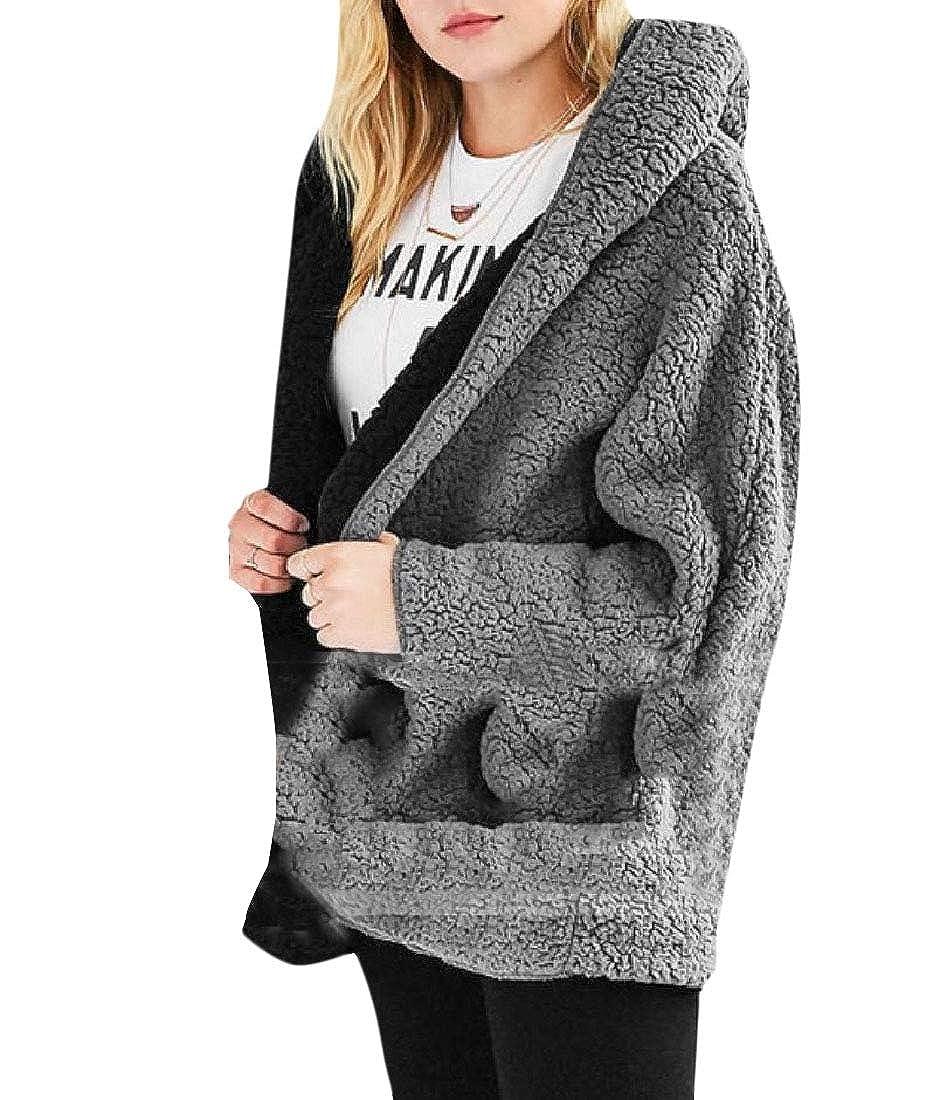 YUNY Womens Outerwear Reversible Bat Sleeve Fluffy Fleece Sweatshirt Black L