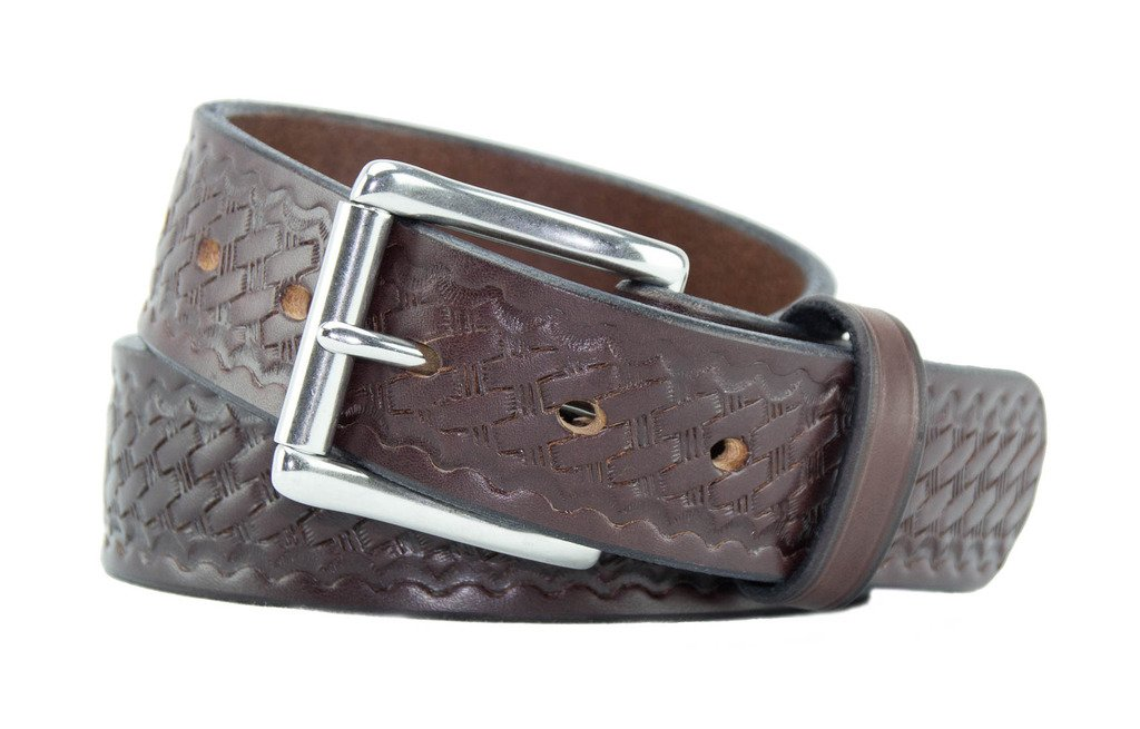Relentless Tactical The Ultimate Concealed Carry CCW Leather Gun Belt - Basket Weave Pattern -1 1/2 inch Premium Full Grain Leather Belt - Handmade in The USA! Brown Size 44 by Relentless Tactical