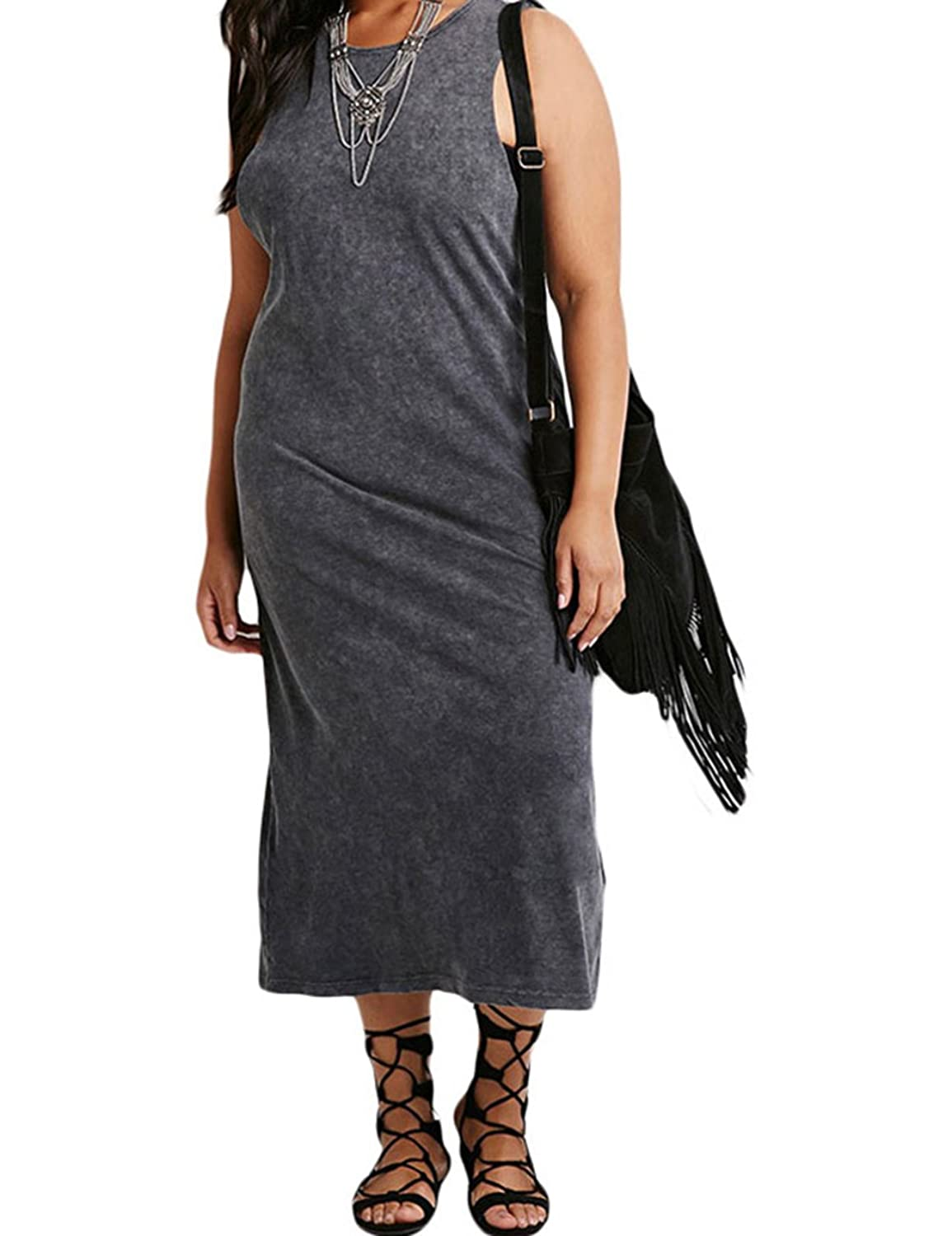 FQHOME Womens Plus Size Cutout-Back Midi Dress