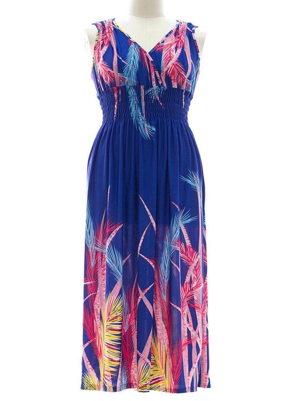 8897 - Plus Size Floral Print Maxi Summer Sun Dress for sale