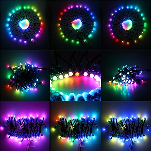 Alarmpore (TM 500-Pack 500pcs Black Wire WS2811 LED Pixel Digital Full Color Character String Led Light Individual Addressable 12mm Round RGB Light P68 Waterproof 12V (12V Round) by Alarmpore (Image #7)